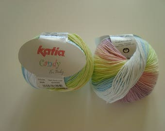 2 skeins 50g of thier CANDY from Katia effect striped multicolored