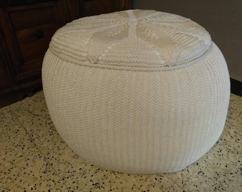 Unique knitted pouf//Unique handknitted footstool
