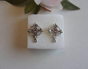 Earrings chip shape Pink Rhinestone rosette
