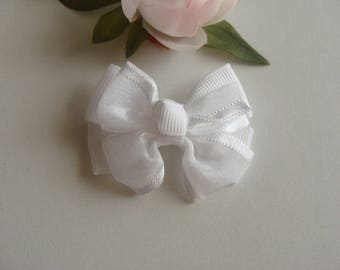 fancy hair clip 6 * 4 cm white ribbon bow applique