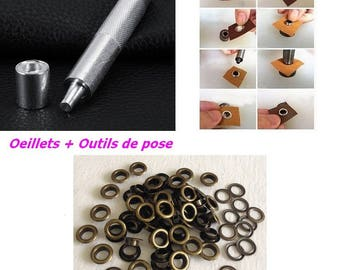 Bronze eyelet + setting tools with washers diameter 13.5 mm for DIY curtain hip bag