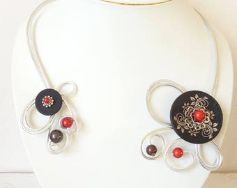 """Romantic spiral necklace """"red and black"""""""