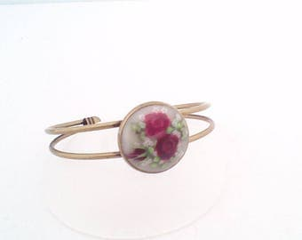 Branch double Bangle Bracelet, Burgundy roses, no. 2