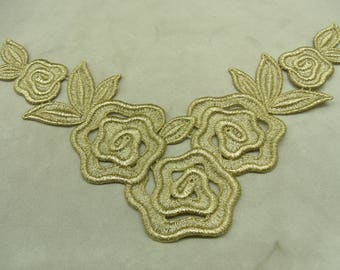 Application pattern embroidered Lurex - gold