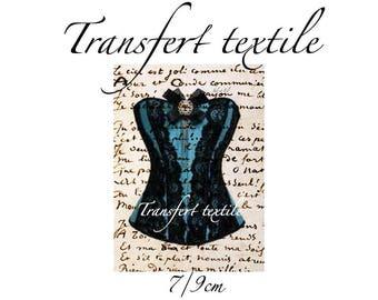 Transfer textile vintage retro blue strapless on manuscript 7 / 9cm