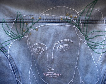 PICASSO, BABY -- Embroidered Denim Jacket