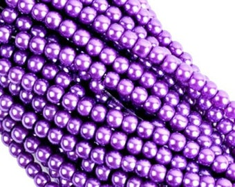 Wholesale lot of 100 purple glass beads, Pearl, 6mm