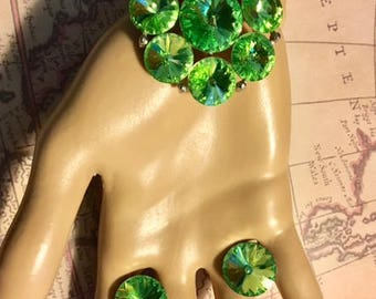 Vintage WEISS Large Green Rhinestone Brooch and Earring Set