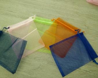 Medium dark blue organza bag