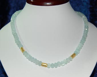 Gemstone necklace with aquamarine Rondelles and cylinders of silver, 48 cm