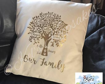 "Personalised Family Tree Cushion Cover- 40x40cm (16""x16"") - *without cushion insert*"