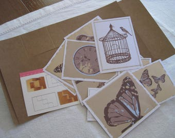 Pack cards, pictures, nature, bird, cage, butterfly, tree