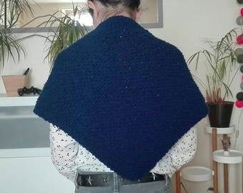 Mini trendy shawl blue wool and acrylic