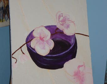 """""""Floral"""" oil painting and structure paste"""