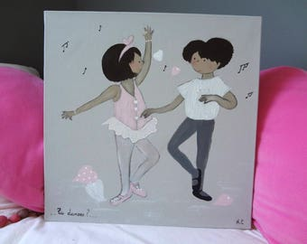 Kids sizing chart: couple of dancers in acrylic paint