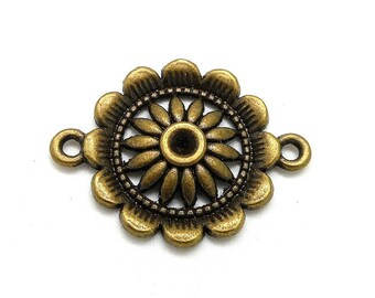 Connector bronze colored metal flower
