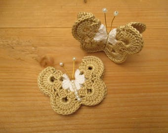 2 beige and white butterflies crochet with white pearls