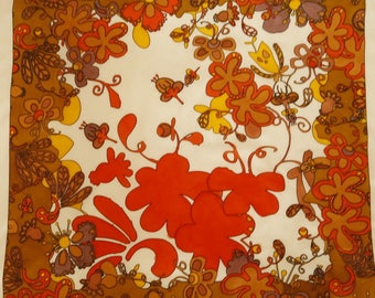 Large floral atmosphere - hand painted silk scarf