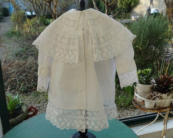 Antique white baby christening coat - Victorian - coat dress baptism-baby clothes-vintage year 1890 bridesmaid dress