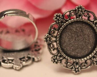 5 x ring round flower silver ring 15mm