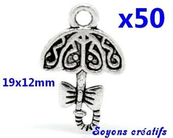 Lot 50 charms silver umbrella 19x12mm