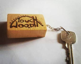 keyring, key chain, touch wood, birthday, christmas, wedding, present, superstitious, lucky, gift, Homemade, wooden, novelty, herseys,