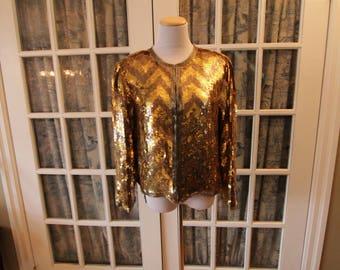 1980's Gold Chevron Sequin Jacket
