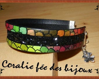printed leather Cuff Bracelet multicolored scales and glitter