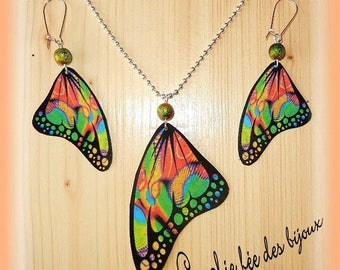 adornment necklace and earrings multicolor butterfly wings