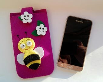 Purple felt cell phone case with bee and flower wooden mobile phone case with Purple felt with bee and flowers in wood