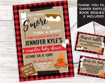 S'mores Baby Shower Invite Invitation Bonfire Plaid Sprinkle Campfire Winter Christmas 5x7 Digital Gender Neutral