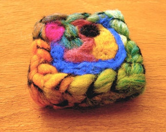 perfect eye or Attraction orbital brooch! Interleave for creation felted silk and wool