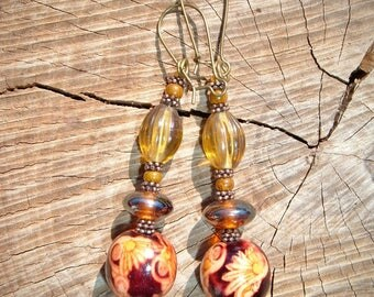 Earrings Alhambra wood and glass beads