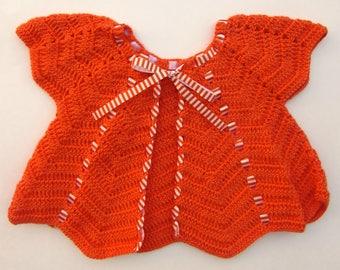 Orange Cardigan with Striped Detail