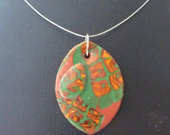 Leaf pendant shape Brown/green plant (sold without cord)