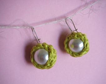 acid-green pearl earrings Pearl Backcombed media