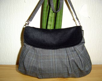 Black velvet bag and tissue gray prince of Wales check