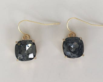 Graphite Gold Drop Earrings