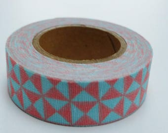 3.50 meters of masking tape sticker fabric pink and Blue Ribbon
