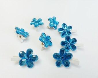 8 mini clothespins wood and blue flower rhinestone