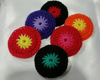 Dish Scrubber/ DOUBLE LAYER Nylon Dish Scrubber - set of 2 - choose your own color / Crochet Pot Scrubber