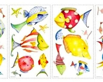 WALL DECO STICKERS PACK * FISH BACKGROUND OF THE SEA * 4 BOARDS