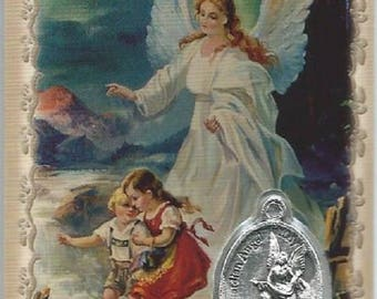 Card image laminated medal Holy Guardian Angel and children 8.5 cm x 5.4 cm