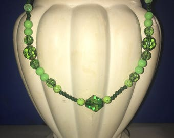 Green long beaded necklace