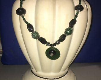 Green and black beaded statement necklace w/ earrings