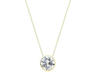 14k Yellow Gold Handmade Necklace With 8mm Round Cubic Zirconia Solitaire