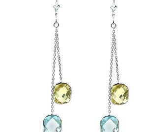 14k White Gold Chandelier Gemstone Earrings with Cushion Cut Blue Topaz And Lemon Quartz