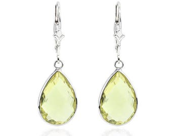 14K White Gold Handmade Gemstone Earrings With Dangling Pear Shape Lemon Quartz