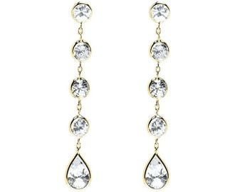 14k Yellow Gold Drop Earrings with Round and Pear Shaped Cubic Zirconia
