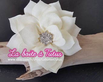 Fabric flower applique diy for bustier headband belt ECRU ivory LOTUS
